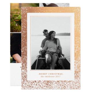 のどのばら色の金ゴールドの雪の休日の写真 カード