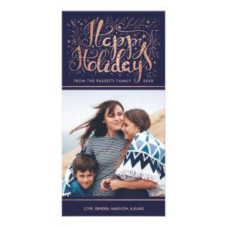 のどのばら色の金ゴールドホイルの休日の写真カード パーソナライズフォトカード