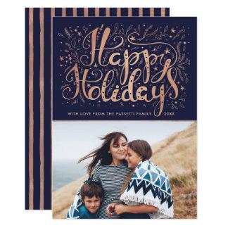 のどのばら色の金ゴールドホイルの写真の休日カード カード