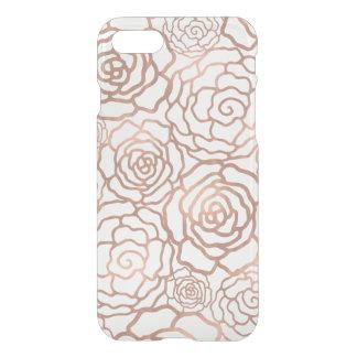 のどのばら色の金ゴールドホイルの花の格子ゆとり iPhone 7ケース