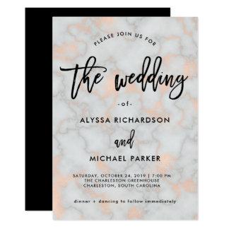 のどの結婚するばら色の金ゴールドの一見および灰色の大理石| カード