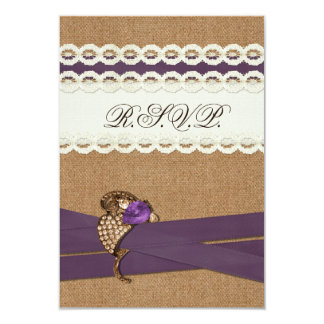 のど|バーラップ、|レース|紫色|結婚|rsvp|3.5|X|5 8.9 X 12.7 インビテーションカード