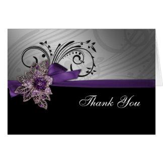 のど|リボン|モダン|紫色|感謝していして下さい||カード グリーティングカード