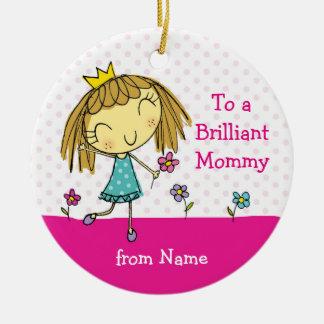 ♥のぶら下がったなオーナメントの♥のお母さんのかわいい王女のピンクのギフト セラミックオーナメント