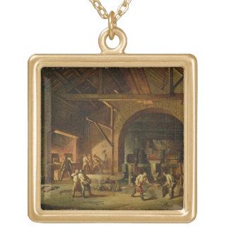 のインテリアIronworks 1850年(キャンバスの油) ゴールドプレートネックレス