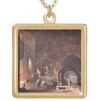 のインテリアIronworks、c.1850-60 (キャンバスの油 ゴールドプレートネックレス