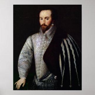 のウォルター・ローリー1588年ポートレート ポスター