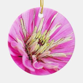 のクローズアップの眺め敏感なピンクの《植物》百日草 セラミックオーナメント