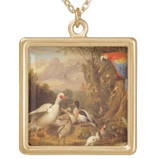 のコンゴウインコ、アヒル、オウムおよび他の鳥土地 ゴールドプレートネックレス