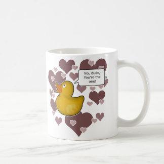 ♥のゴム製ダッキーの♥ -ガーリーな版 コーヒーマグカップ