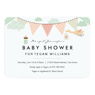 |のベビーシャワーの招待状をバントしている女の赤ちゃん カード
