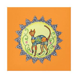 のペイズリー、ケルト族猫の曼荼羅ファンキー キャンバスプリント