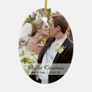  の初めてのクリスマスの写真のオーナメントの結婚 セラミックオーナメント