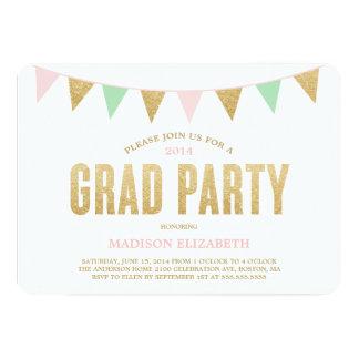  の卒業のパーティの招待状をバントするグリッター カード