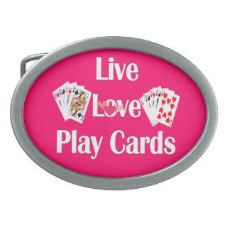 の愛生きている、カードピンクを遊んで下さい 卵形バックル