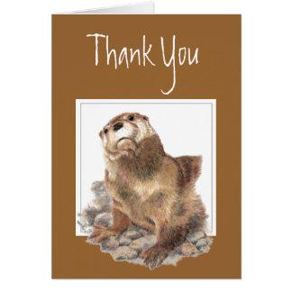 の感謝、かわいい川カワウソ、動物ありがとう カード