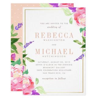  の春のラベンダー、ばら色及び金ゴールドを結婚する水彩画 カード