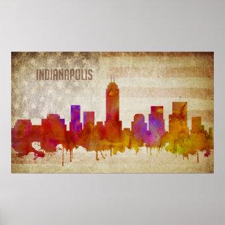  の水彩画都市スカイラインのインディアナポリス、 ポスター
