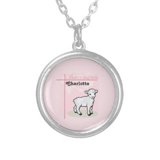 の洗礼、ピンク、女の子、子ヒツジカスタマイズ可能 シルバープレートネックレス