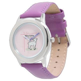 の洗礼、ピンク、女の子、子ヒツジカスタマイズ可能 腕時計