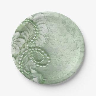  の真新しい緑を結婚する真珠およびレース ペーパープレート スモール