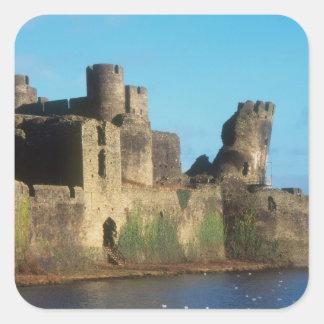 の眺めのウェールズ- Caerphillyの城、 スクエアシール