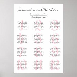 |の着席の図表を結婚するシンプルでロマンチックな赤面 ポスター