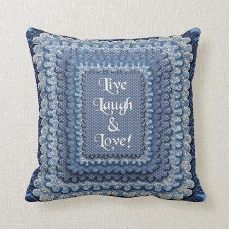 の笑い生きている、スクエアを愛して下さい。 枕-国の青 クッション