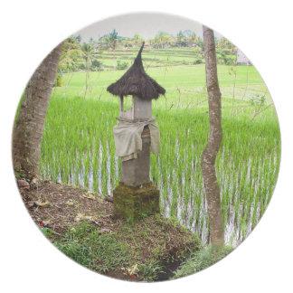 |の米分野の寺院| Ubudバリ島インドネシアをめっきして下さい プレート