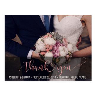 |の美しいピンクのタイポグラフィのフォトカードありがとう 葉書き