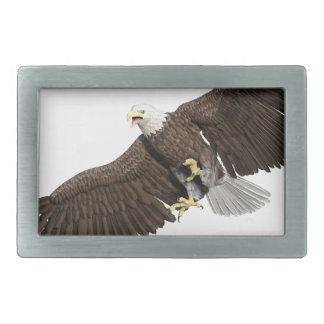 の翼を持つ白頭鷲はなでます 長方形ベルトバックル