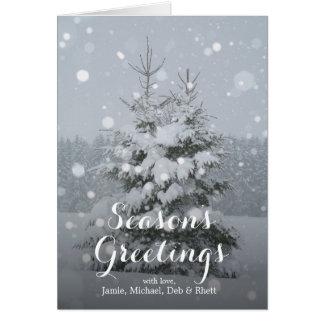 の自然なクリスマスツリー(もみ)重い降雪 カード