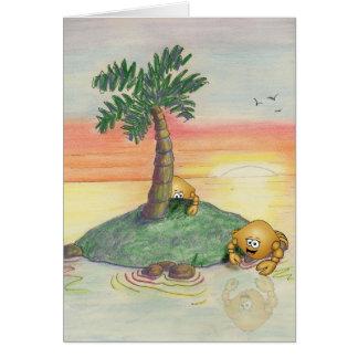 の謝罪、カニ、島、日没、ヤシの木残念 カード