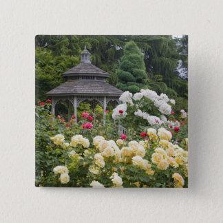 の開花および望楼のバラ園のバラ 5.1CM 正方形バッジ