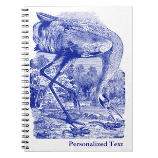 |の青|のアメリカシロヅルを引いているヴィンテージの鳥 ノートブック