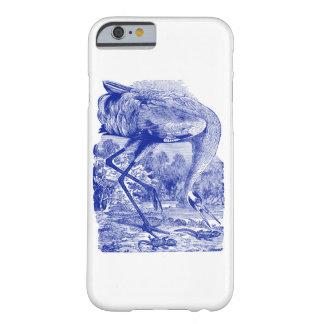  の青 のアメリカシロヅルを引いているヴィンテージの鳥 BARELY THERE iPhone 6 ケース