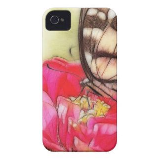 の黄色いアゲハチョウの蝶《植物》百日草 Case-Mate iPhone 4 ケース