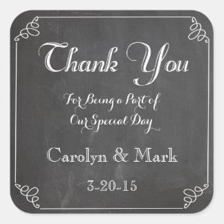 の黒板のヴィンテージの結婚式の引き出物のラベルありがとう スクエアシール