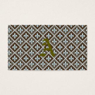 の、タータンチェック王室のな、(紋章の)フラ・ダ・リ茶色、パターン淡いブルー、 名刺