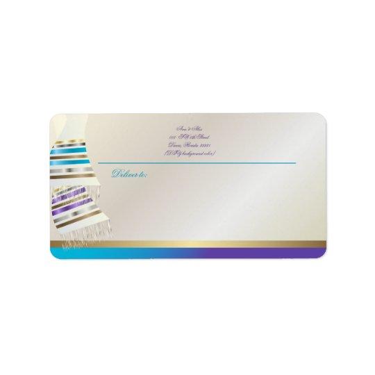 ✡のPixDezinesの水か紫色のTallits ラベル