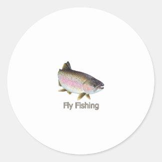 はえの魚釣りのニジマスのロゴ ラウンドシール