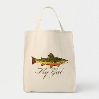 はえの魚釣りの女性 トートバッグ
