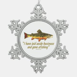 はえの魚釣りの引用文 ピューター製スノーフレークオーナメント