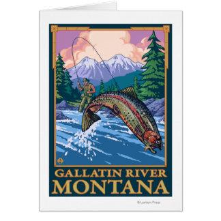 はえの魚釣り場面-ギャラティンの川、モンタナ カード