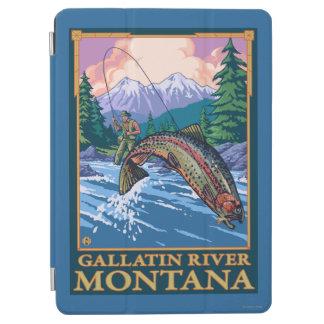 はえの魚釣り場面-ギャラティンの川、モンタナ iPad AIR カバー