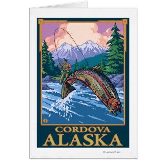 はえの魚釣り場面- Cordova、アラスカ カード