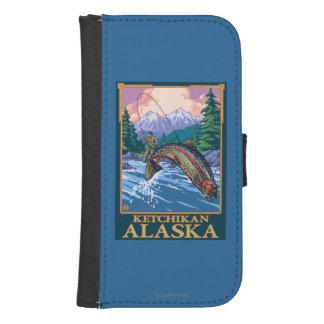 はえの魚釣り場面- Ketchikan、アラスカ ウォレットケース