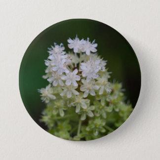 はえ毒白い野生の花の花柄ボタン 7.6CM 丸型バッジ