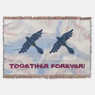 """はえ、ロビンは、""""一緒に永久に""""飛びます(鳥のデザイン) スローブランケット"""