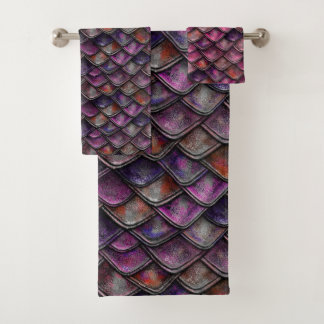 はかりで測られるドラゴン-明るい赤紫色 バスタオルセット